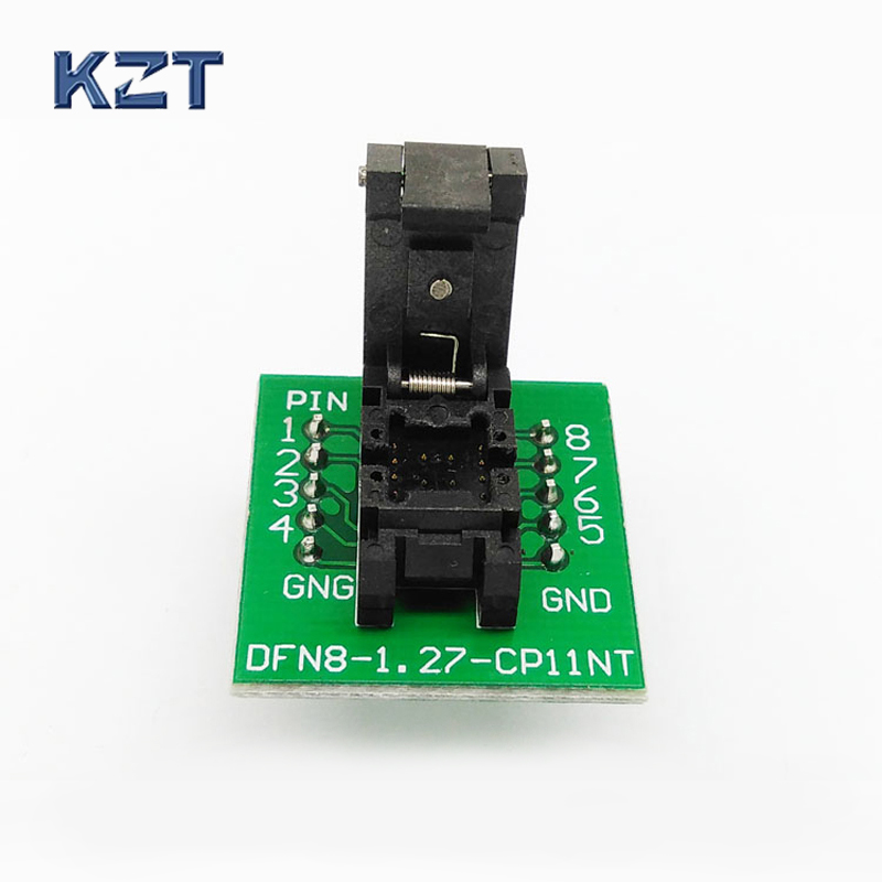 QFN8 DFN8 WSON8 Programming Socket Pogo Pin IC Test Adapter QFN8-1.27-CPO1PNL Pitch 1.27mm Clamshell Size 5*6 Burn in Socket купить