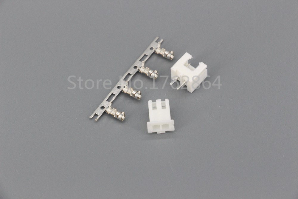 100Sets/Kit XH2.54-2P 2Pin Straight needle spacing 2.54mm connectors Male and Female Plug + terminals