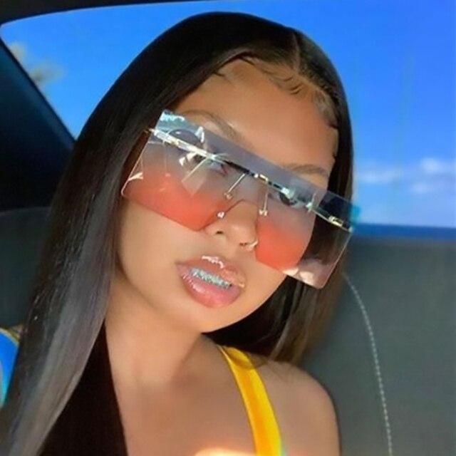 Большие очки с плоским верхом модные брендовые дизайнерские женские негабаритные Квадратные Солнцезащитные очки градиентные синие розовые оттенки Lunette De Soleil