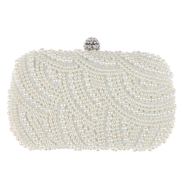 Oval Shaped Pearl Beaded Handbag Women White Clutch Bag Elegant Long Chain Shoulder Handbags Wedding Bridal