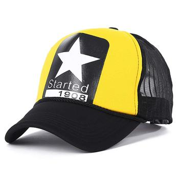 new Summer adjustable men's mesh trucker cap star pattern yellow red white in stock