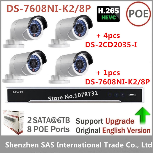 US $897 0 |Hikvision Surveillance System NVR DS 7608NI K2/8P 2SATA, 8 POE  ports 8ch Play H 265 + 4pcs Hikvision DS 2CD2035 I 3MP IP Camera-in