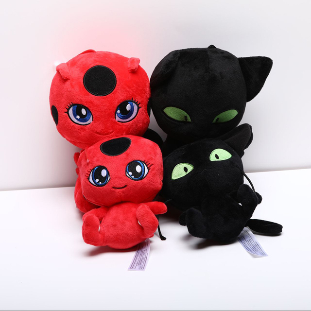Filme pçs/lote 4 Joaninha Menina Gato Plagg & Tikki Noir Clipe Pingente de Brinquedo de Pelúcia Chaveiro de Pelúcia Macia Dos Desenhos Animados do Anime de Pelúcia brinquedos Presentes