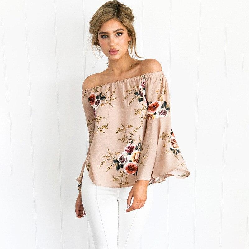 Hombro imprimir flor floral blusa sexy moda loose women blusas playa largo flare