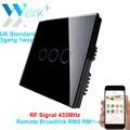WeLink 3 gang, táctil De Pared Interruptor remoto, reino unido estándar interruptor de panel de cristal, lámparas de control wifi teléfono inteligente a través de broadlink rm2 rm pro