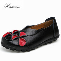 New Women Real Leather Flowers Shoes Mother Loafers Soft Leisure Flats Female Driving Casual Footwear Solid