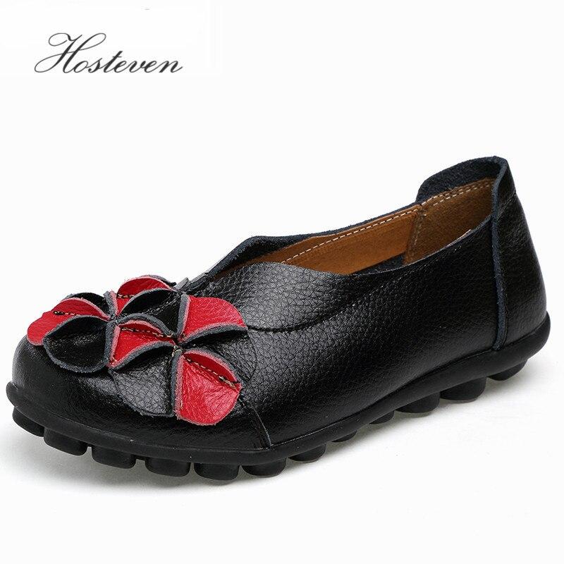 Новый Для женщин из натуральной кожи туфли с цветочным принтом мать Лоферы для женщин мягкая обувь на плоской подошве для отдыха вождения Повседневное обувь сплошной лодка обуви