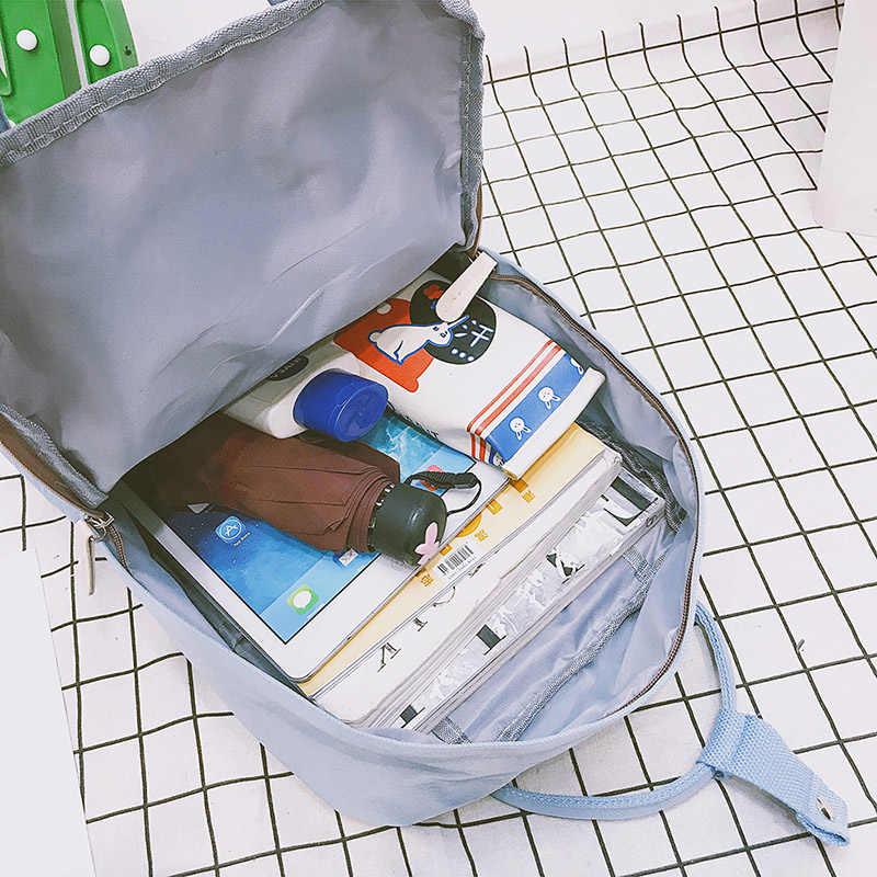 Wanita Kanvas Ransel Warna Candy Tahan Air Sekolah Tas untuk Remaja Gadis Besar Lucu Laptop Tas Ransel Perca Kawaii Ransel
