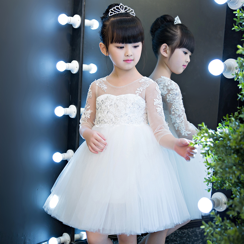2017 New Korean Girl White Lace Ball Gown Dresses Half Sleeves O Neck Wedding Pageant First Communion Dresses for Little Girls green crew neck roll half sleeves mini dress