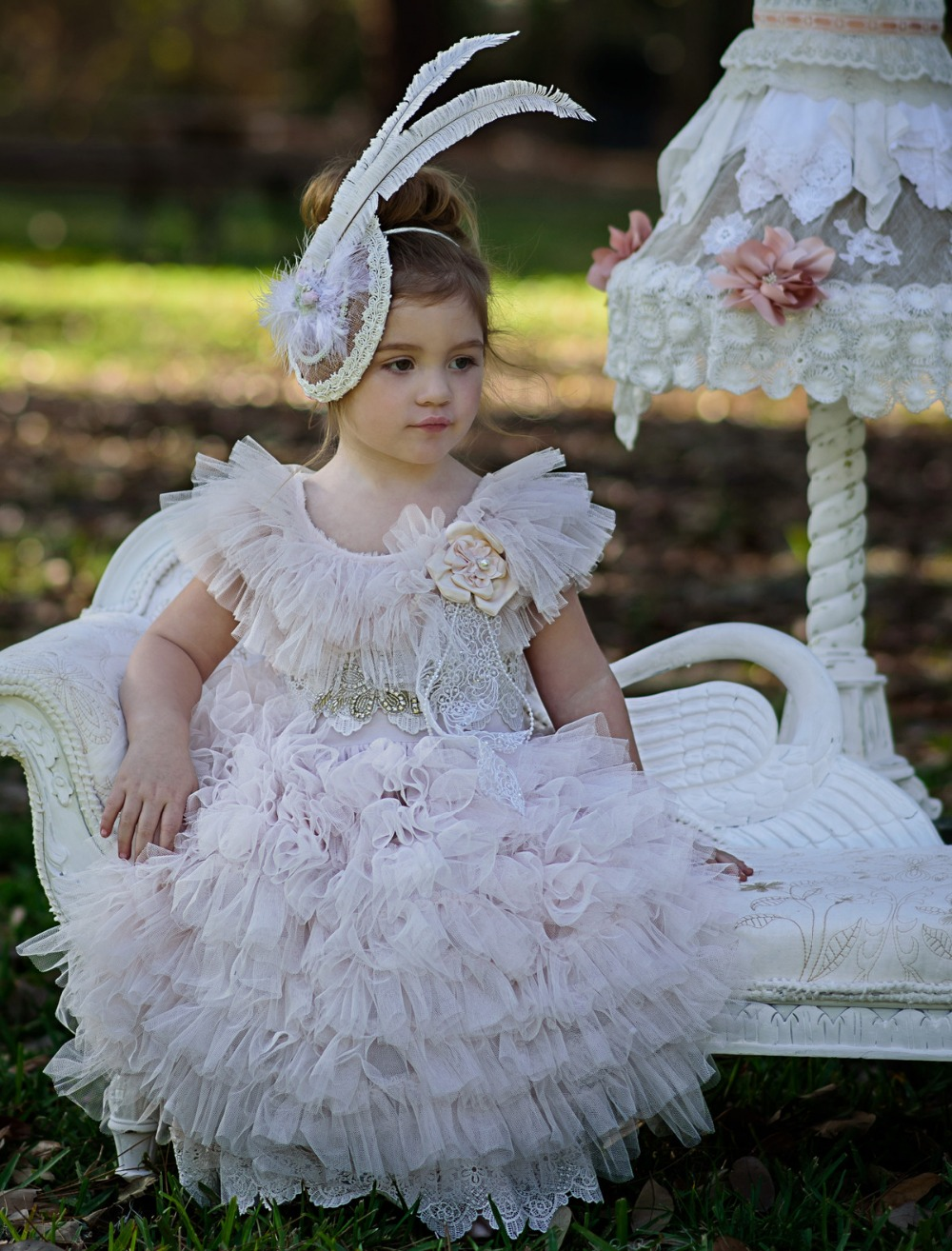 Vintage Lace Tiered Ruched Tulle Girl Ball Gown Short Sleeveless Long Floor Flower Girl Dress with Appliques 0-12 Years Old