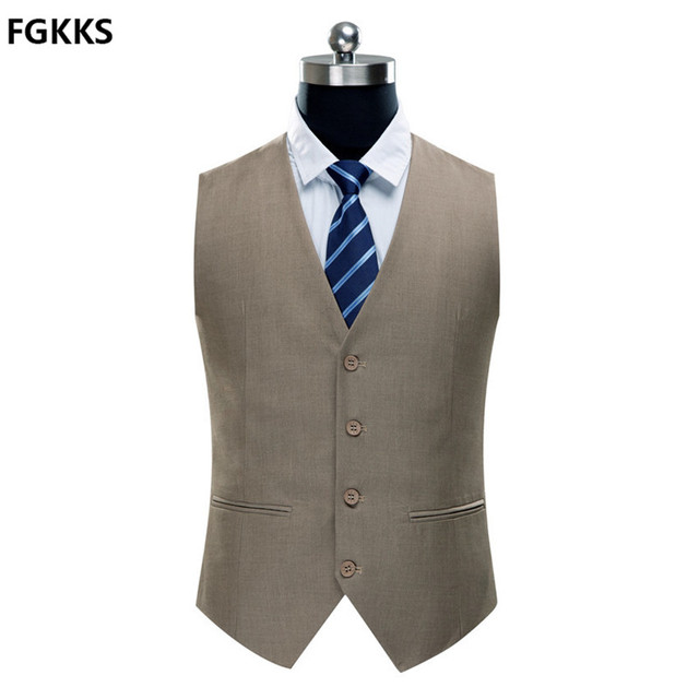 2016 New Arrival Casual High Quality Brand Men's Vest Fashion Slim Fit Men's Solid Color Suit in 4 colors Out of the Case
