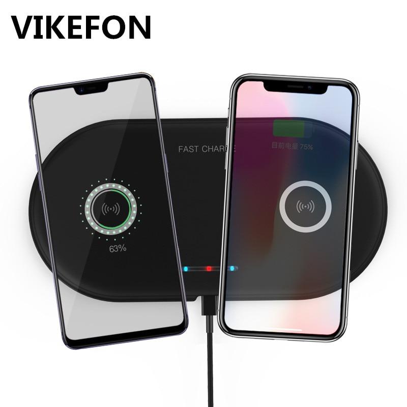 Handy-zubehör Vikefon Qi Drahtlose Ladegerät Dual Pad Für Iphone 8 X Xr Xs Max Schnelle Drahtlose Lade Für Samsung S9 Hinweis 8 9 Xiaomi Ladegerät Pad Weich Und Rutschhemmend