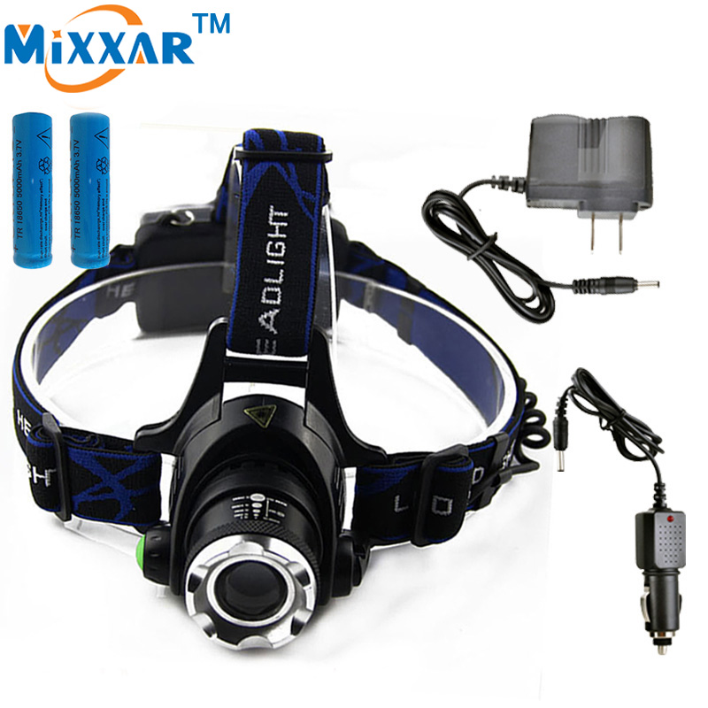 ZK40 Led Headlamp Cree T6 3800LM Flashlight Head Light Adjustable Fishing Light Rechargeable torch 2*18650 Batteries+2*Charger