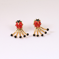 New A Gules Enamel Glaze Ladybug Gold Woman Earring Purpose 925 Silver Needle Crystal Jewelry Gift for shipping