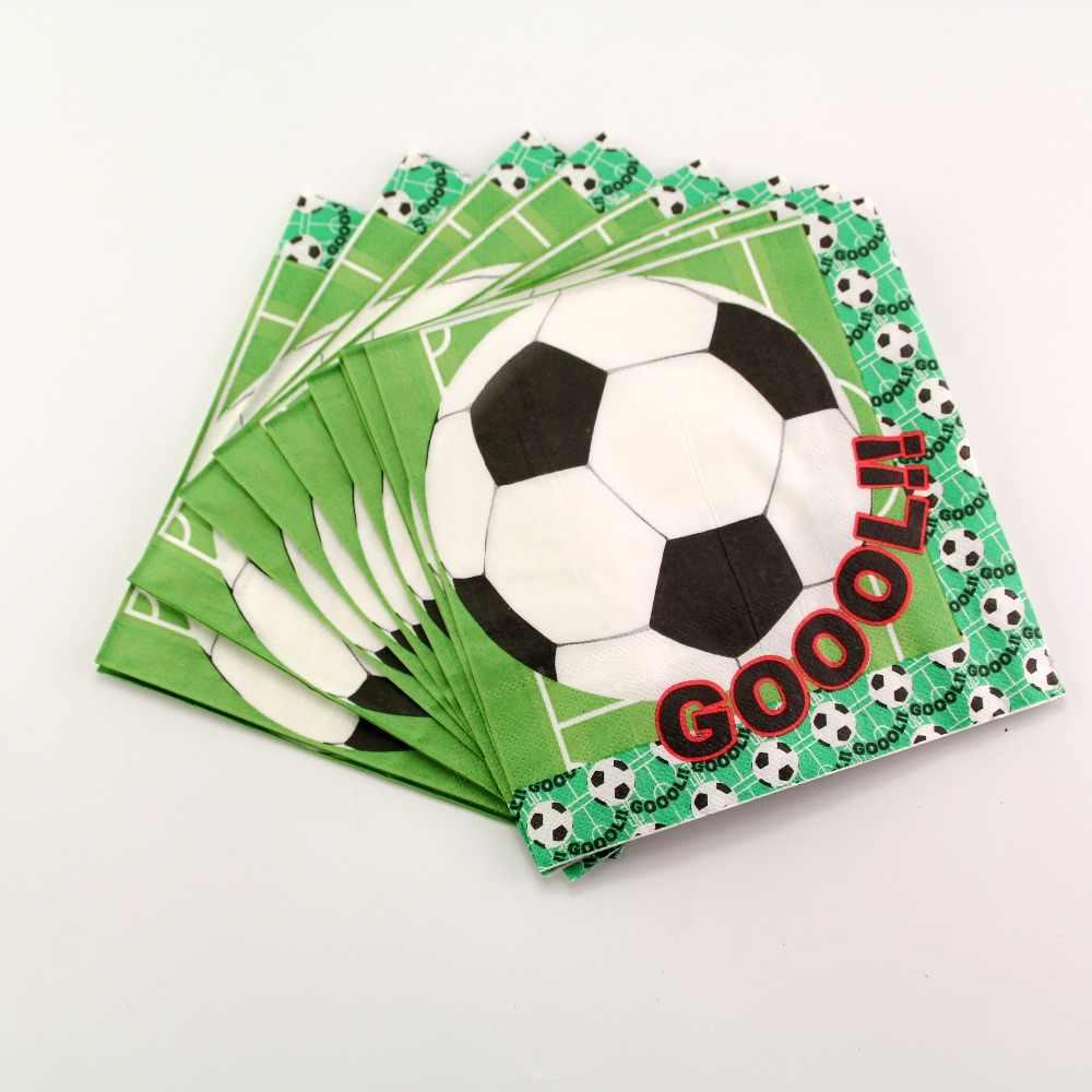 Футбол тема 20 шт./партия бумажные салфетки для детей Кубок мира для мальчиков с днем рождения украшения поставки