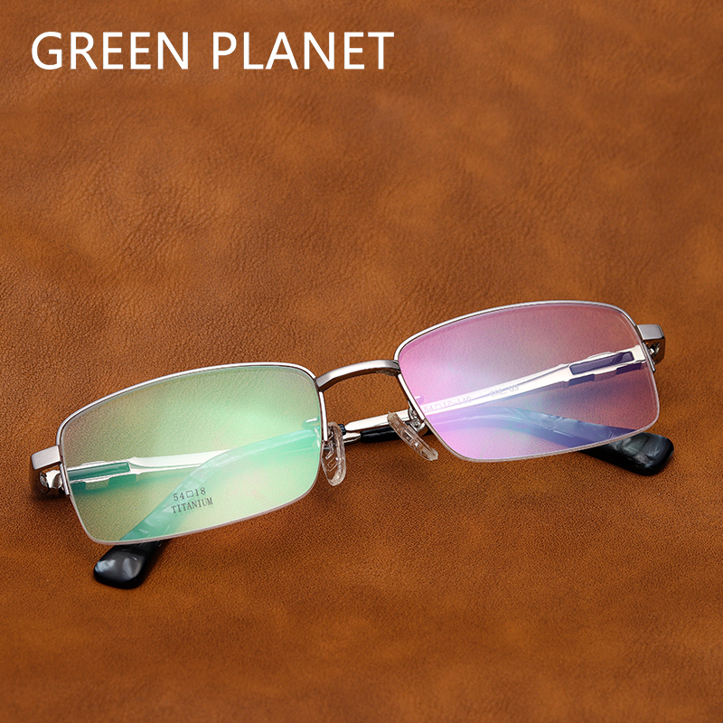 Men Metal Eyeglasses Frame Titanium Optical Myopia Clear Frame Brand Designer Half Rim Fashion Computer Glasses #FV1012