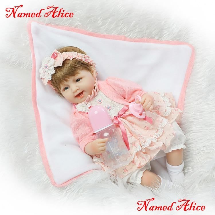 "Hot sale NPK girl doll bebe 18"" lifelike silicone reborn baby dolls toys for kids gift lovely dress with pacifier bottle"