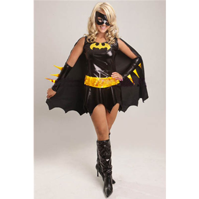 Daring and Deluxe Yellow Vinyl Belt and Black Fascinations Halloween Costumes Fancy Womens Sexy Bat Warrior Costume L1343