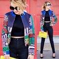 2016 Женская Мода Цветочные Повседневная Куртки Пальто Костюм Куртка Пиджаки Короткие женщины носят