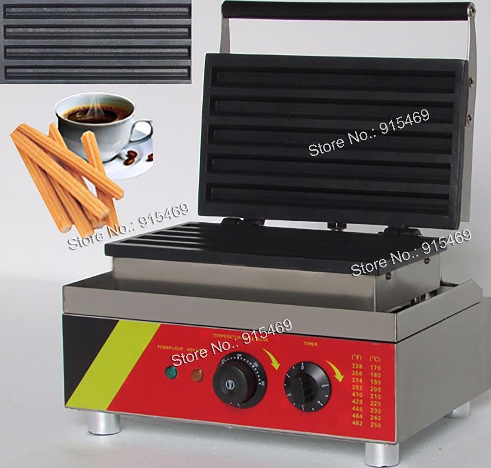 Free Shipping 5pcs 110v 220v Electric Commercial Churro Waffle Maker Iron Machine Baker free shipping electric 110v 220v 10 pcs waffle maker square waffle machine