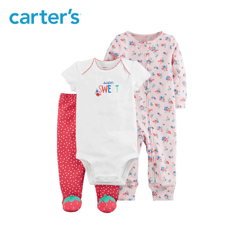 Carters Baby Girl 3pcs Sweet Bodysuits Floral Jumpsuit Strawberry Foot Pants Soft Cotton Newborn Baby Clothes Sets 126h331
