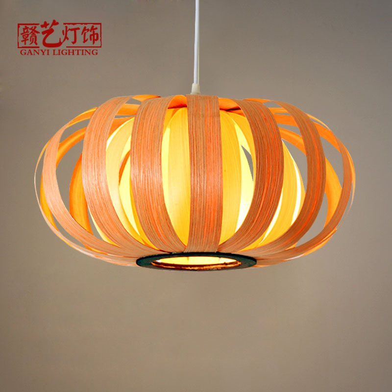 Southeast Asian wooden skin lamp, pastoral style, pumpkin lantern, restaurant, farmhouse, tea house, wooden chandelier.