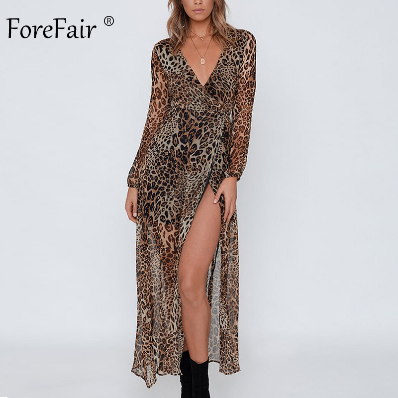 Forefair Sexy Leopard Maxi Dress Party Vintage Animal Print 2019 Autumn Winter Elegant Chiffon Tie Waist Wrap Long Dress Women