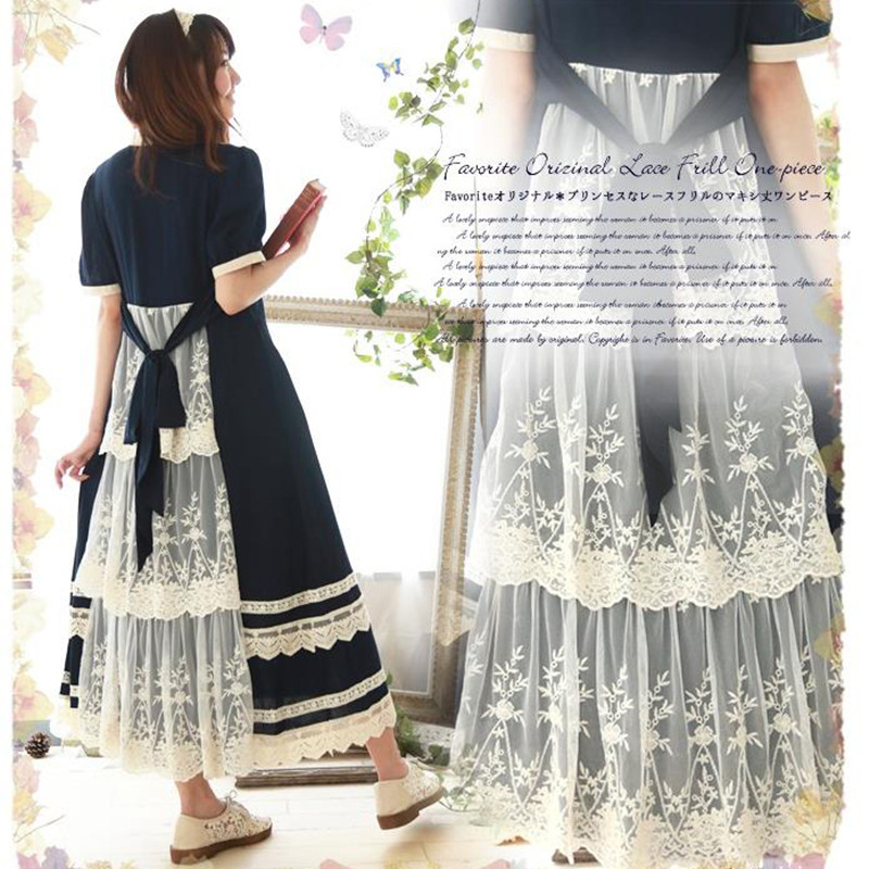 Summer Blue Long Maxi Dress Patchwork Lace Short Sleeve Cotton Japanese Mori Girl Style Casual Dresses Платье