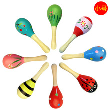 Wooden cartoon sand ball wooden hammer training hearing rattle baby exercise hand holding musical instrument toy