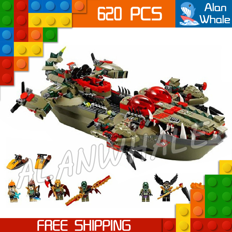 620pcs Cragger Command Ship Cocodile Crominus Crooler Rawzom 10061 DIY Figure Building Blocks Boy Toy  Compatible with LegoING-in Blocks from Toys & Hobbies