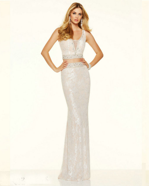 Style 98010 White Prom Dresses Lace Open Back Mermaid Floor Length ...