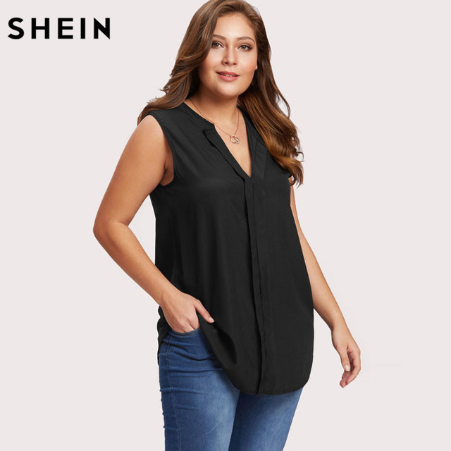 98c12a12c2bd2 SHEIN Plus Size Chiffon Blouse Summer Black Casual Asymmetric Blouse V Neck  Sleeveless Top Large Size
