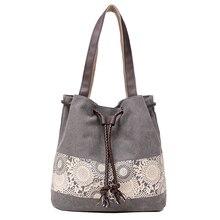 KVKY Hot Sale High Quality Famous Brands Luxury Designer Women's Lace Printing Shoulder Drawstring Beam Port Canvas Shopper Bag