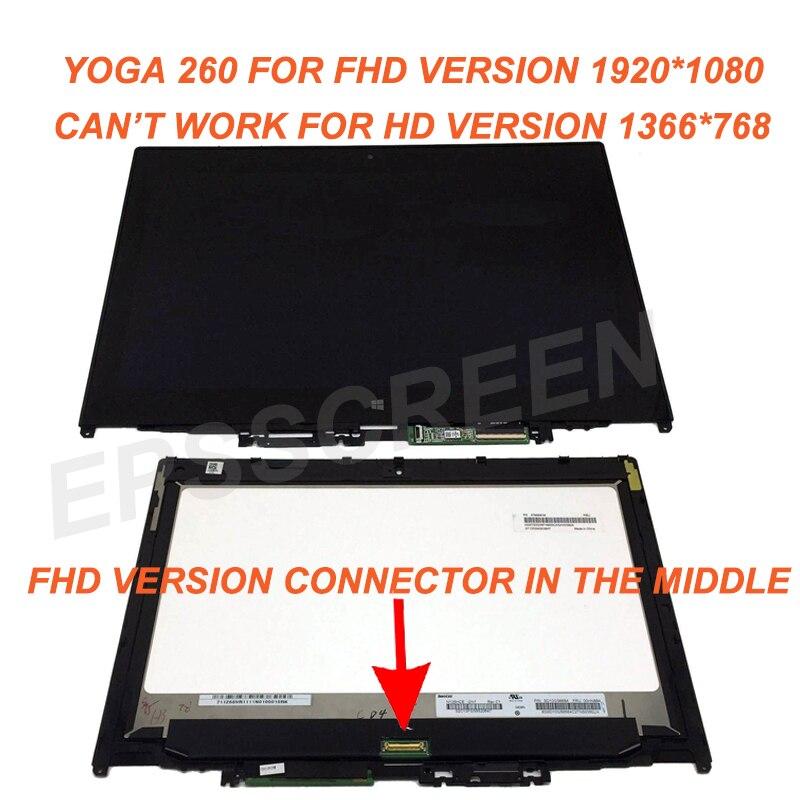 Pour Lenovo Thinkpad De Yoga 260 20FD0002US FHD Tactile PANNEAU LCD Écran Assemblée + Lunette 1920*1080 N125HCE GN1 FHD WITHCONTROL CONSEIL