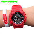 High Quality SANDA Brand Dual Display Watches Waterproof Back light Calender Digital Stop Watch Men Boy Rubber Sport Wrist Watch