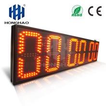 Honghao 8inch 6 Digit Big LED Outdoor Large Stopwatch Electronic Countdown Clock Timer For Sport Match Race ds3231 electronic diy 0 8inch dot matrix led clock kit 4 digit display 5v mciro usb car clock l15