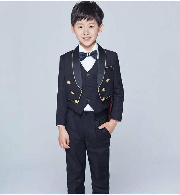 Estilo fraque Smoking Xaile Lapela Crianças Terno Preto/Branco Kid Suits Casamento/Prom (Jacket + Vest + calça + Gravata + Camisa) NH22