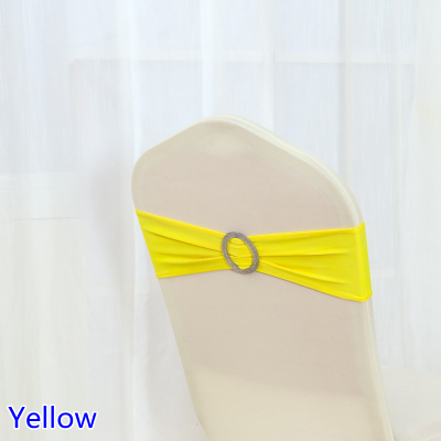 yellow spandex chair sashes best accent chairs colour sash with shiny round buckles for covers band lycra bow tie wedding decoration