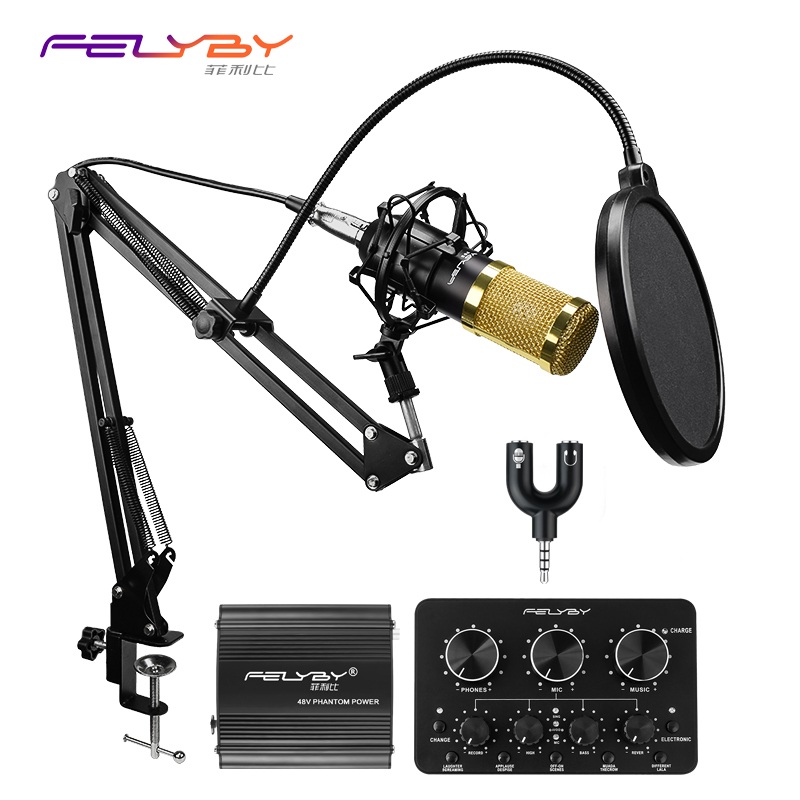 HOT! FELYBY BM-800 professional Condenser microphone set for computer recording with Phantom power and Multi-function sound card
