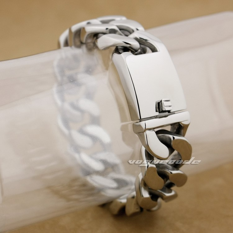 Bracelet de motard pour hommes en acier inoxydable 316L énorme et lourd de 9 longueurs 5D006 (longueur 9.2 pouces)