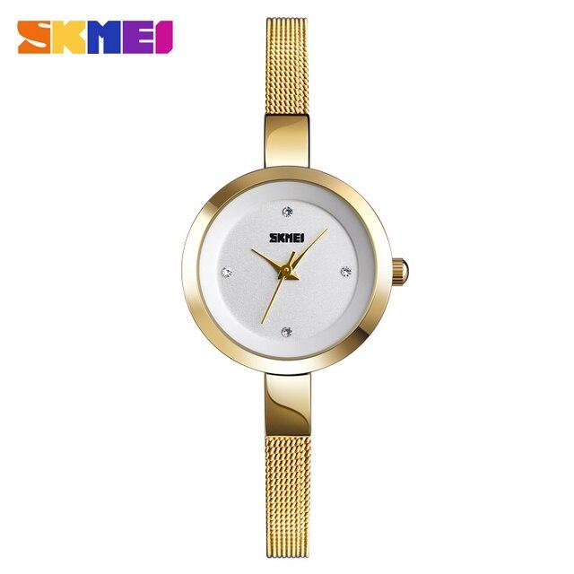 SKMEI Super Slim Golden Stainless Steel Watches Women Top Brand Luxury Casual Clock Ladies Wrist Watch Lady Relogio Feminino1390 1