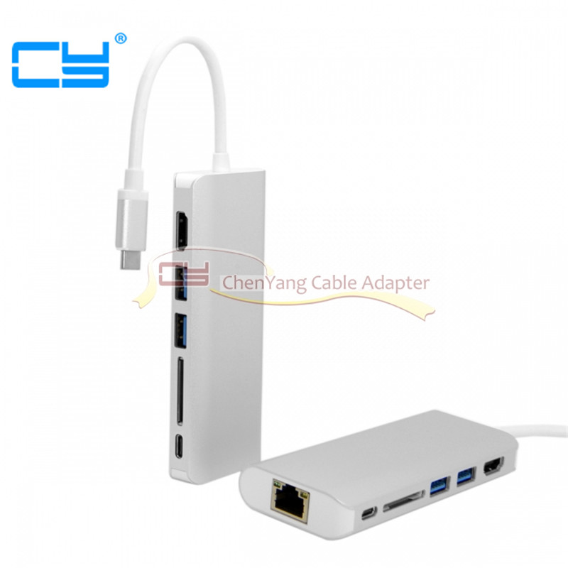 cy USB 3.1 Type C to HDMI & Dual Ports 3.0 Hub & Ethernet & SD Card Reader & Power For PC Laptop & Macbook cable uc 034