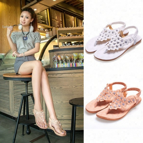 d779c8e51d54 2015 Bohemian Thong Sandals Shoes Summer Women Shoes New Beads Flowers Girl  Flat Shoes 12