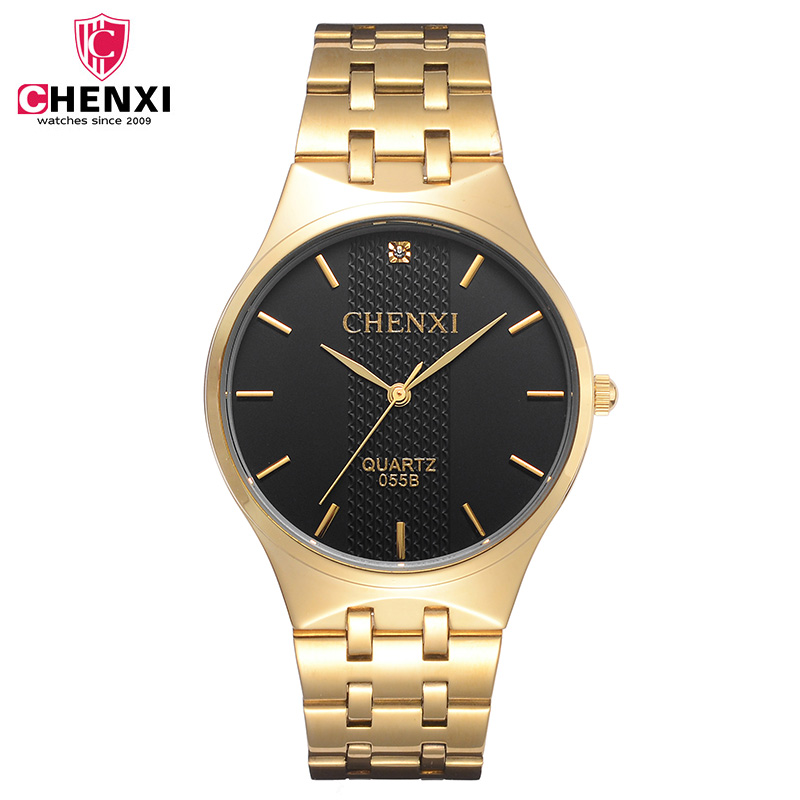 CHENXI Full Gold Watch Mens Watches Top Brand Luxury Waterproof Quartz-watch Clock Steel Wrist watches for Men relogio masculino anne klein 2836 jade