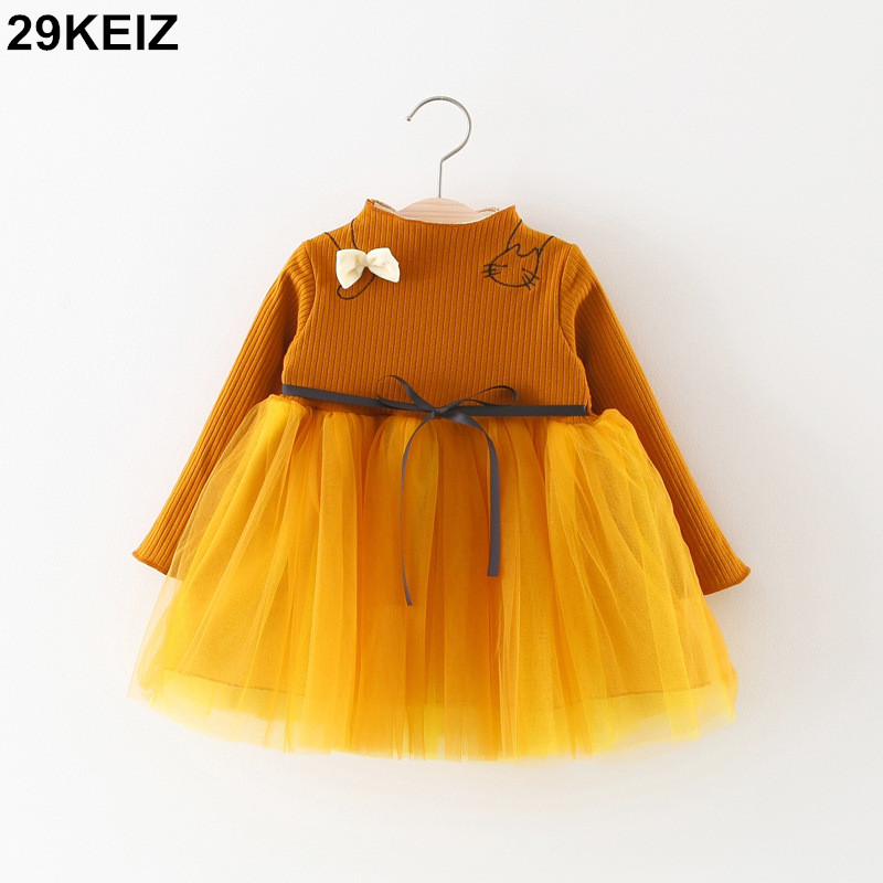 29KEIZ Solid Color Baby Girls Ball Gowns Winter Children\'s Clothing ...