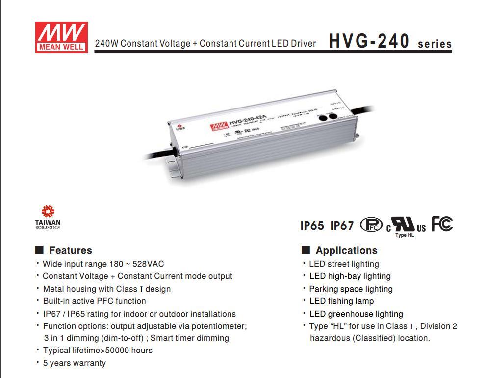Здесь продается  Advantages MEAN WELL original HVG-240-42A 42V 5.7A meanwell HVG-240 42V 239.4W Single Output LED Driver Power Supply A type  Электротехническое оборудование и материалы
