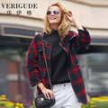 Veri Gude Women's Woolen Long Coats Red and Black Plaid Pattern Woolen Coat