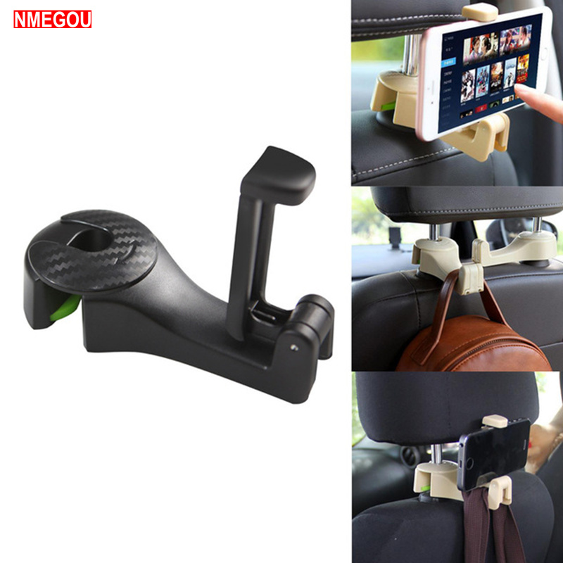 Universal Car Headrest Hooks With Phone Holder Backseat For IPhone Samsung Huawei Support Mobile Back Seat Kid Clip Stand Mount