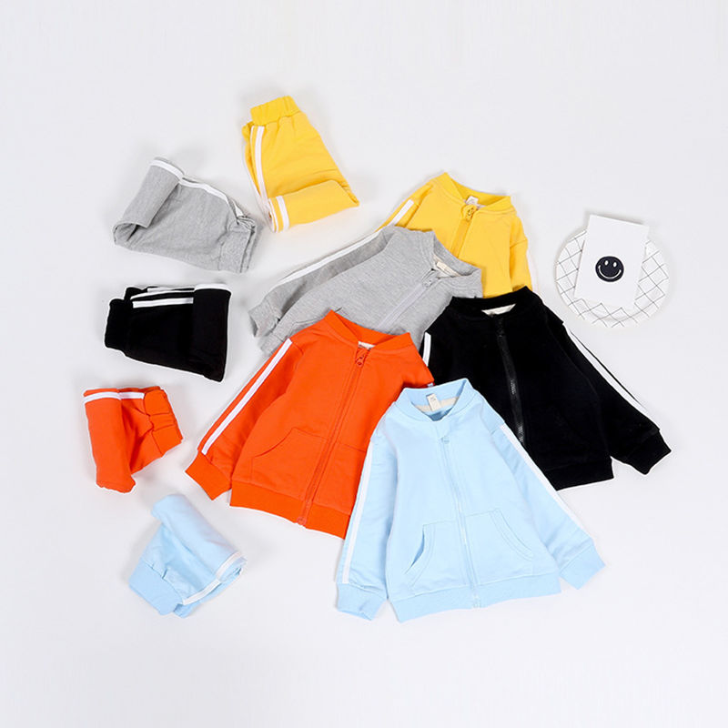 2pcs Spring Autumn Cotton Kids Clothes Set Baby Boys Jacket +Pants Outfits Kids Tracksuit Sport Suit Children Clothing 5 Color spring children girls clothing set brand cartoon boys sports suit 1 5 years kids tracksuit sweatshirts pants baby boys clothes