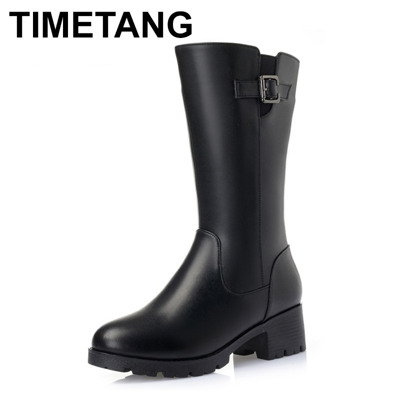 TIMETANG Fashion Women Genuine Leather Boots Thick Wool Winter Warm Shoes Woman Snow Boots Mid-calf High Heels Platform Boots ekoak new 2017 winter boots fashion women boots warm plush mid calf boots ladies platform shoes woman rubber leather snow boots